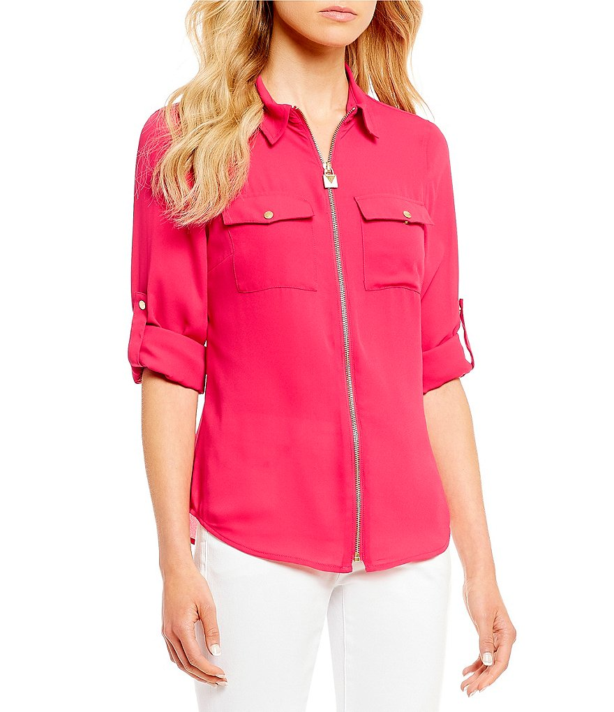 Solid Liquid Crepe Lock Tag Zip Front Roll Sleeve Shirt by Michael Michael Kors