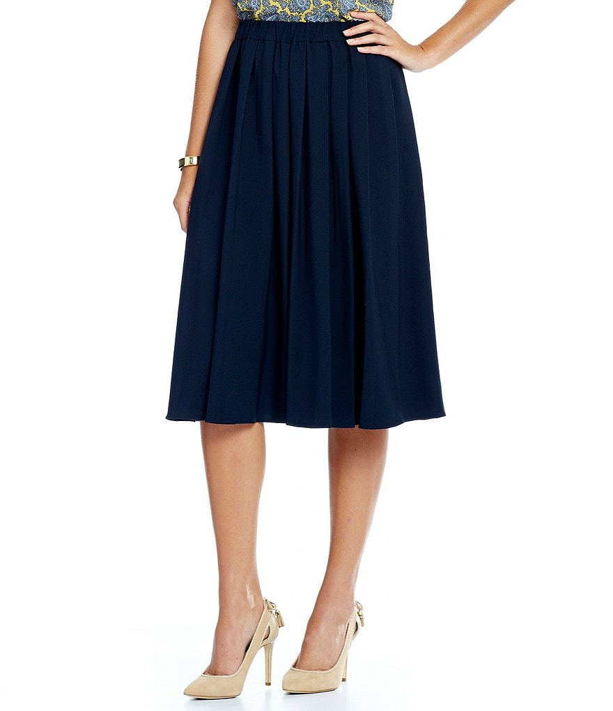 MICHAEL Michael Kors Stretch Crepe Pleated A-Line Skirt