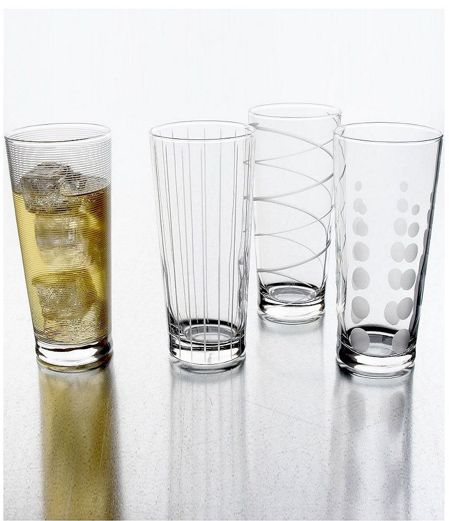 Mikasa Cheers Striped, Swirled & Dotted Highball Glasses, Set of 4