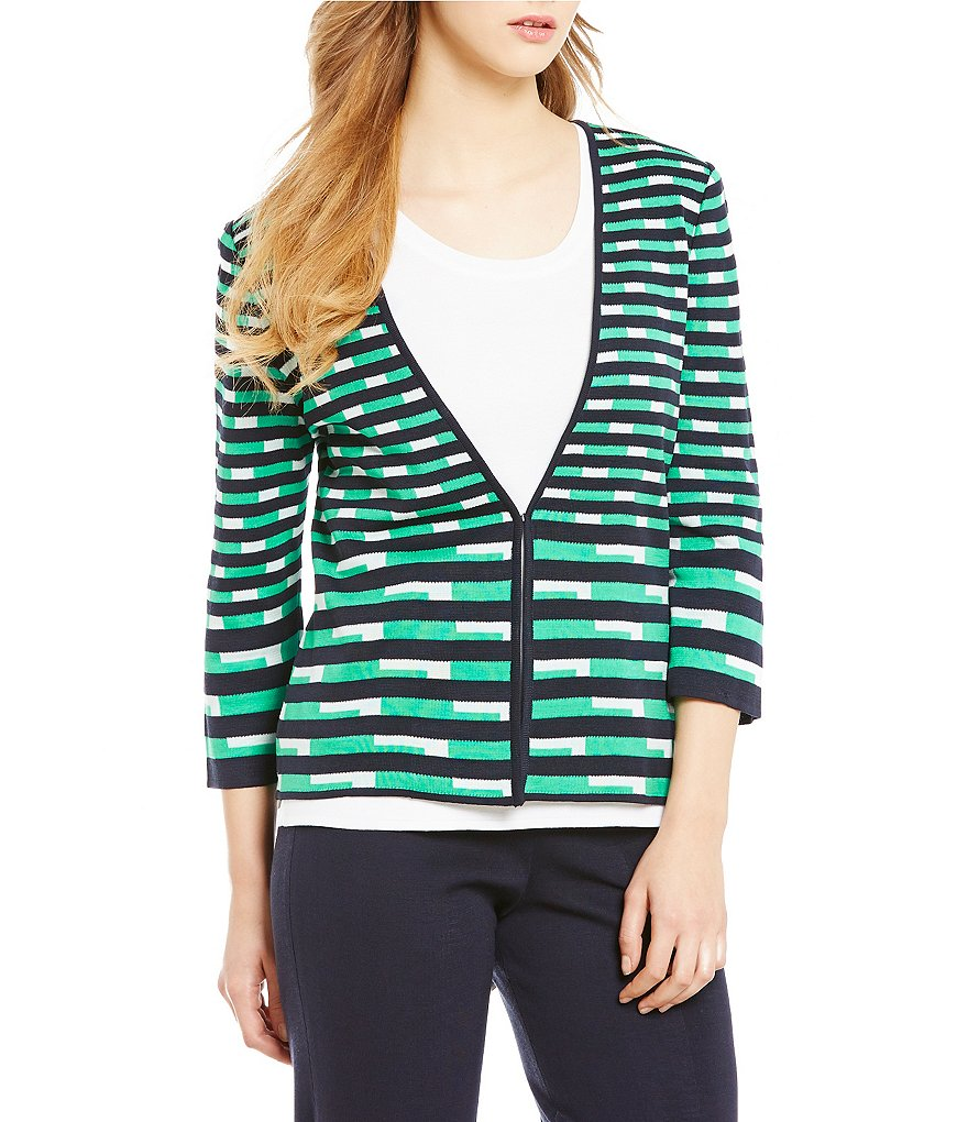Ming Wang 3/4 Sleeve V-Neck Hook Front Patterned Jacket