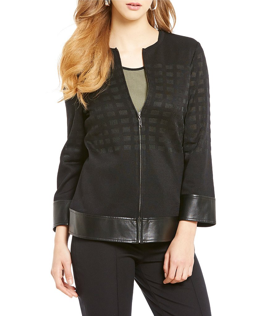 Misook Jewel Neck Open Front Metallized Woven Jacket