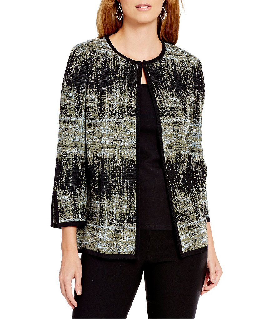 Misook Pattern Jeweled Neck Jacket