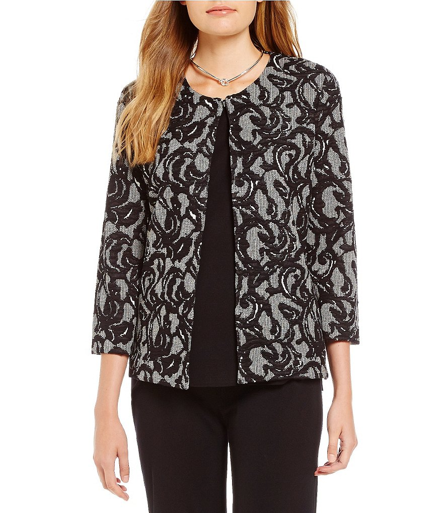Misook Round Neck Lace Print Jacket