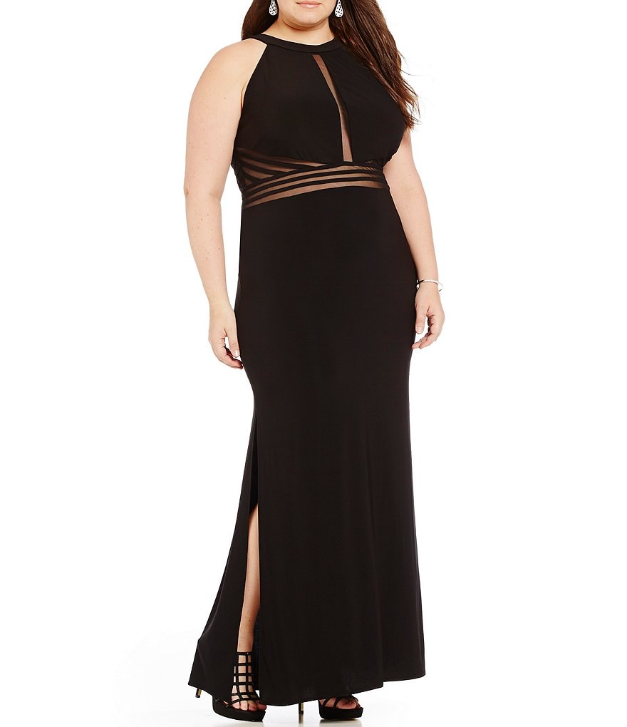 Morgan & Co. Plus Illusion Inset High Neckline Long Dress