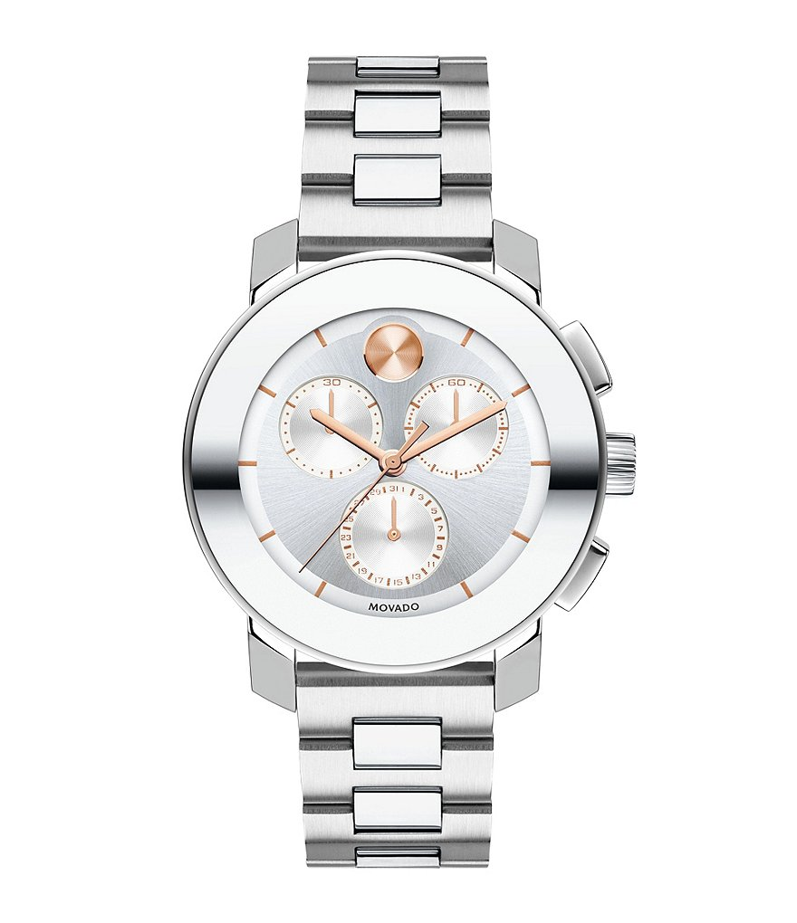 Movado Bold Iconic Stainless Steel K1 Crystal Chronograph Bracelet Watch