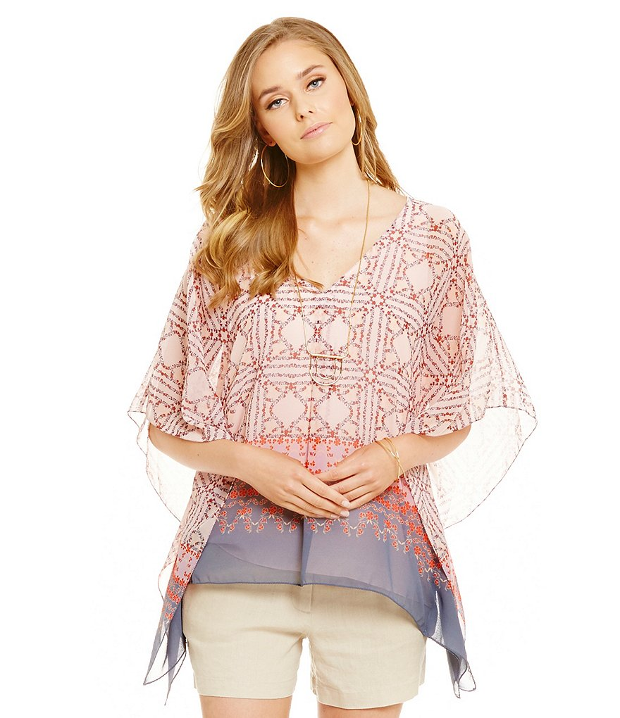 M.S.S.P. Floral V-Neck Short Sleeve Woven Blouse