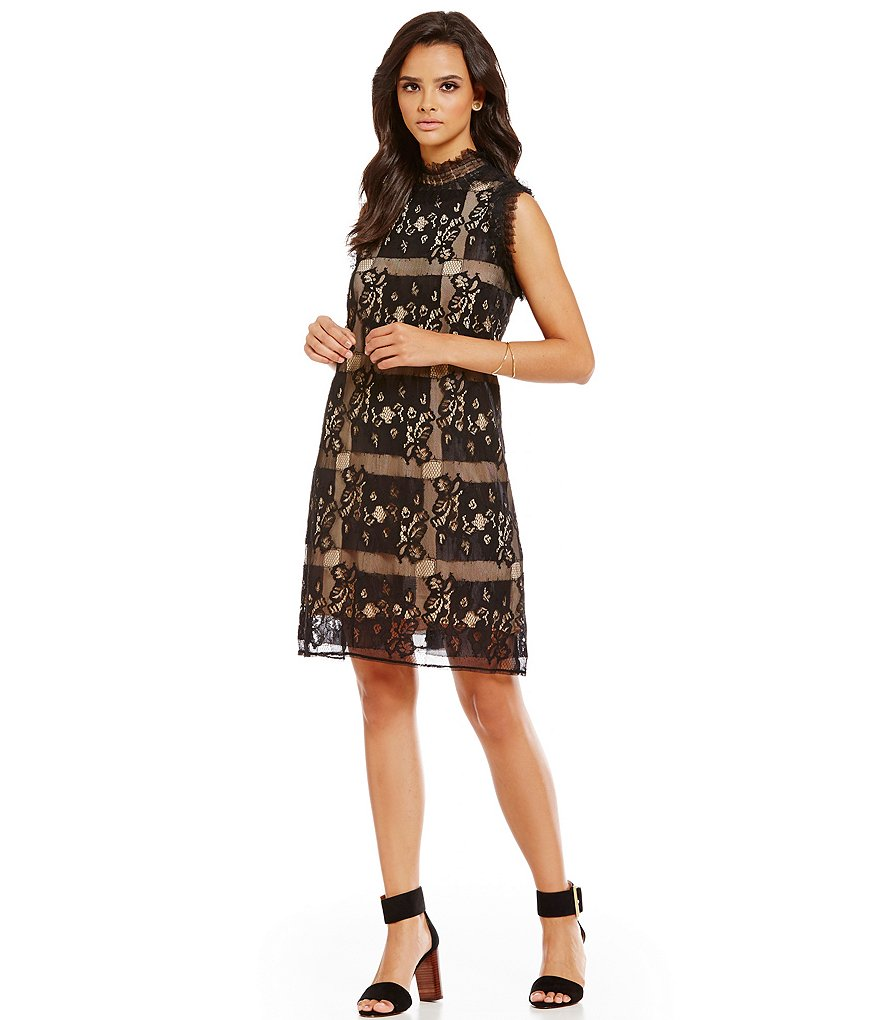 M.S.S.P. Mock Neck Squared Lace Shift Dress