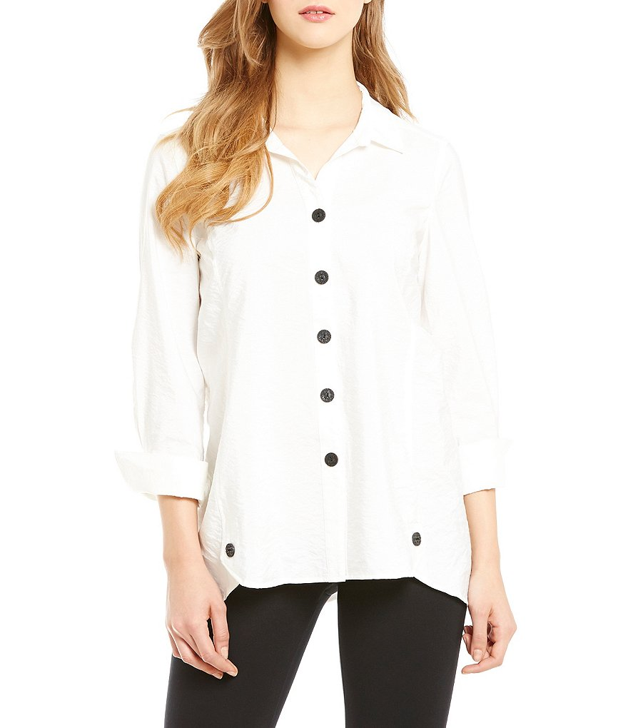 Multiples Contrast Button-Front Long Sleeve Hi-Low Shirt