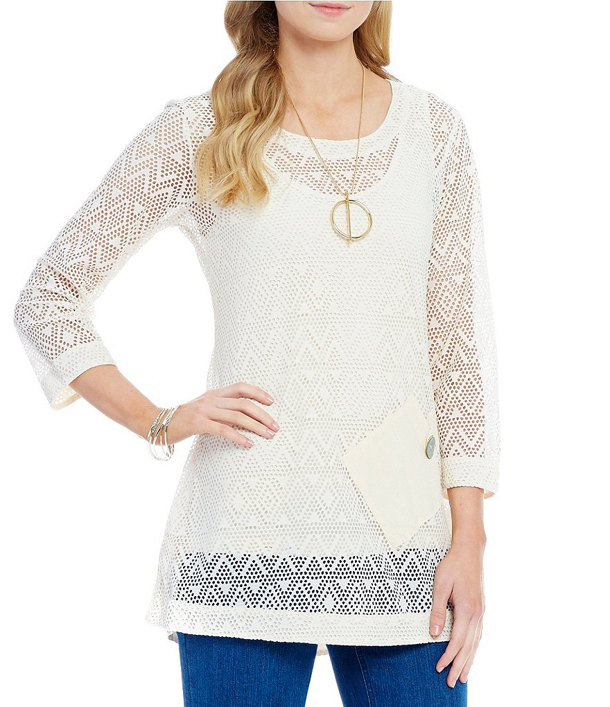 Multiples Open Weave 3/4 Sleeve Tunic