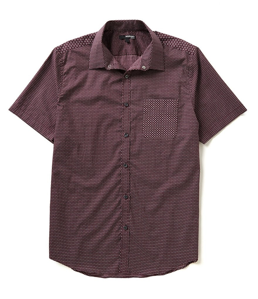 Murano Short-Sleeve Geometric Print Slim-Fit Sportshirt