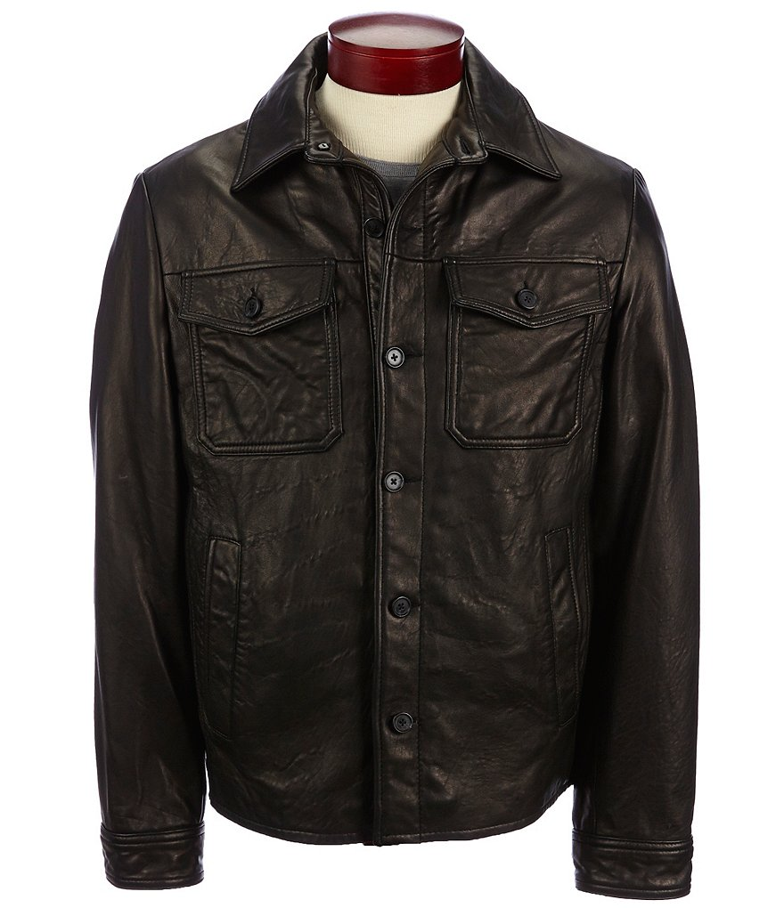 Murano Lambskin Leather Shirt Jacket