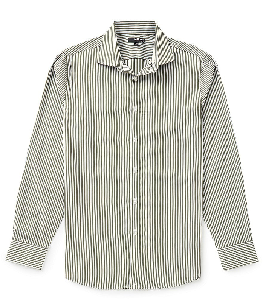 Murano Long-Sleeve Slim-Fit Striped Spread Collar Sportshirt