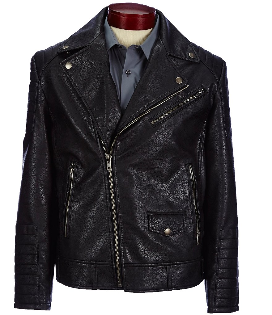 Murano Pebbled Faux-Leather Biker Jacket
