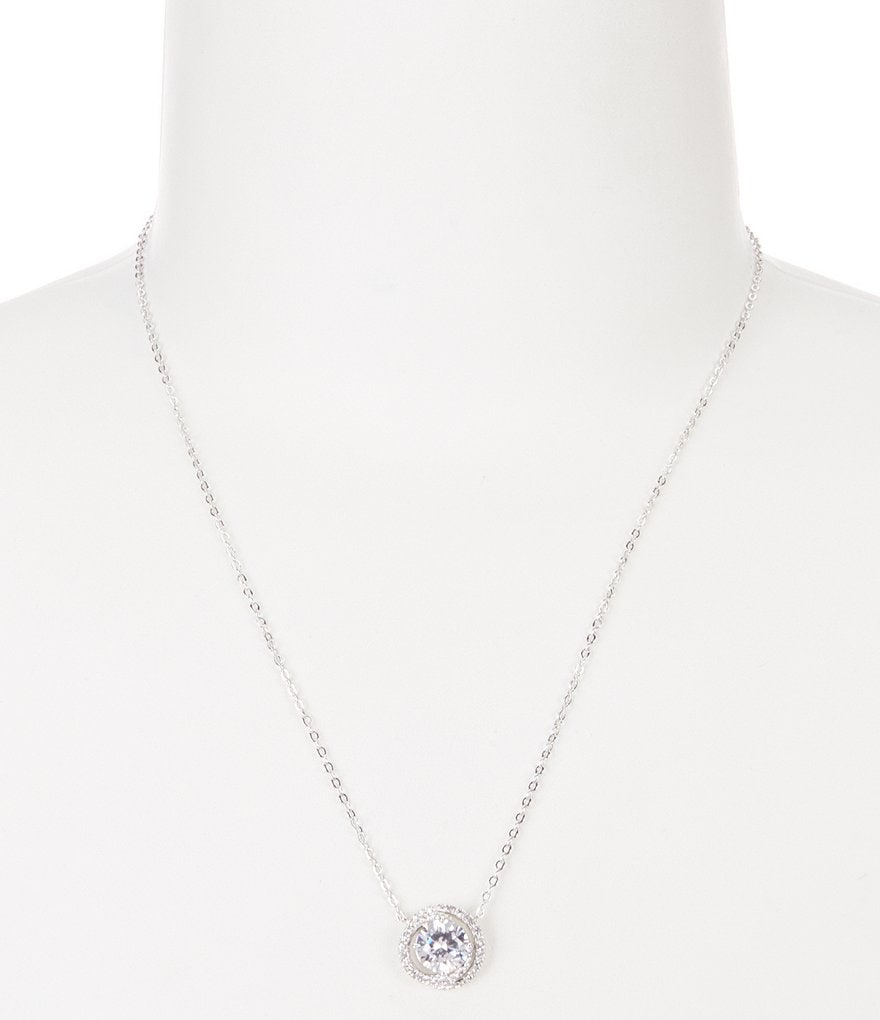 Nadri Cubic Zirconia Circle Pendant Necklace