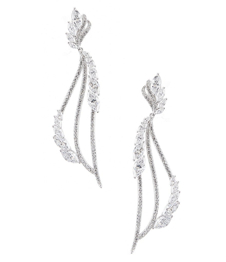 Nadri Dolce Cubic Zirconia Leaf Linear Drop Statement Earrings