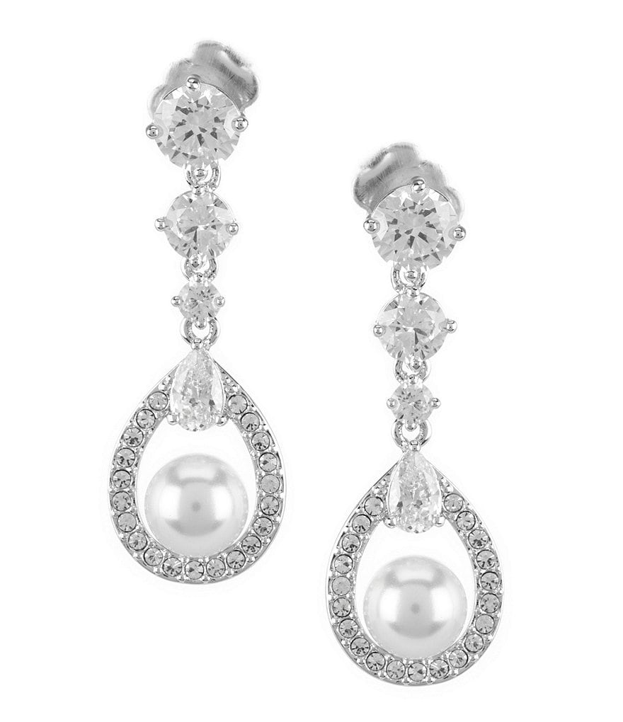 Nadri Lily Faux-Pearl Crystal Drop Statement Earrings