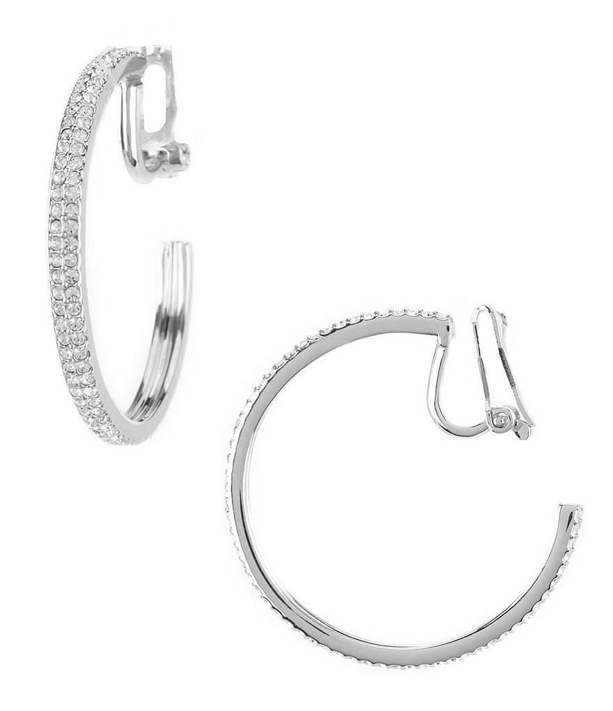 Nadri Pavé Clip-On Hoop Earrings