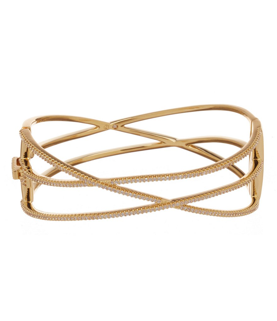 Nadri Viento Pavé Gold Plated Bangle Bracelet