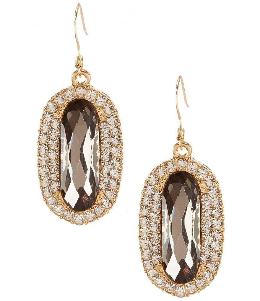 Natasha Accessories Crystal Oval Drop Statement Earrings