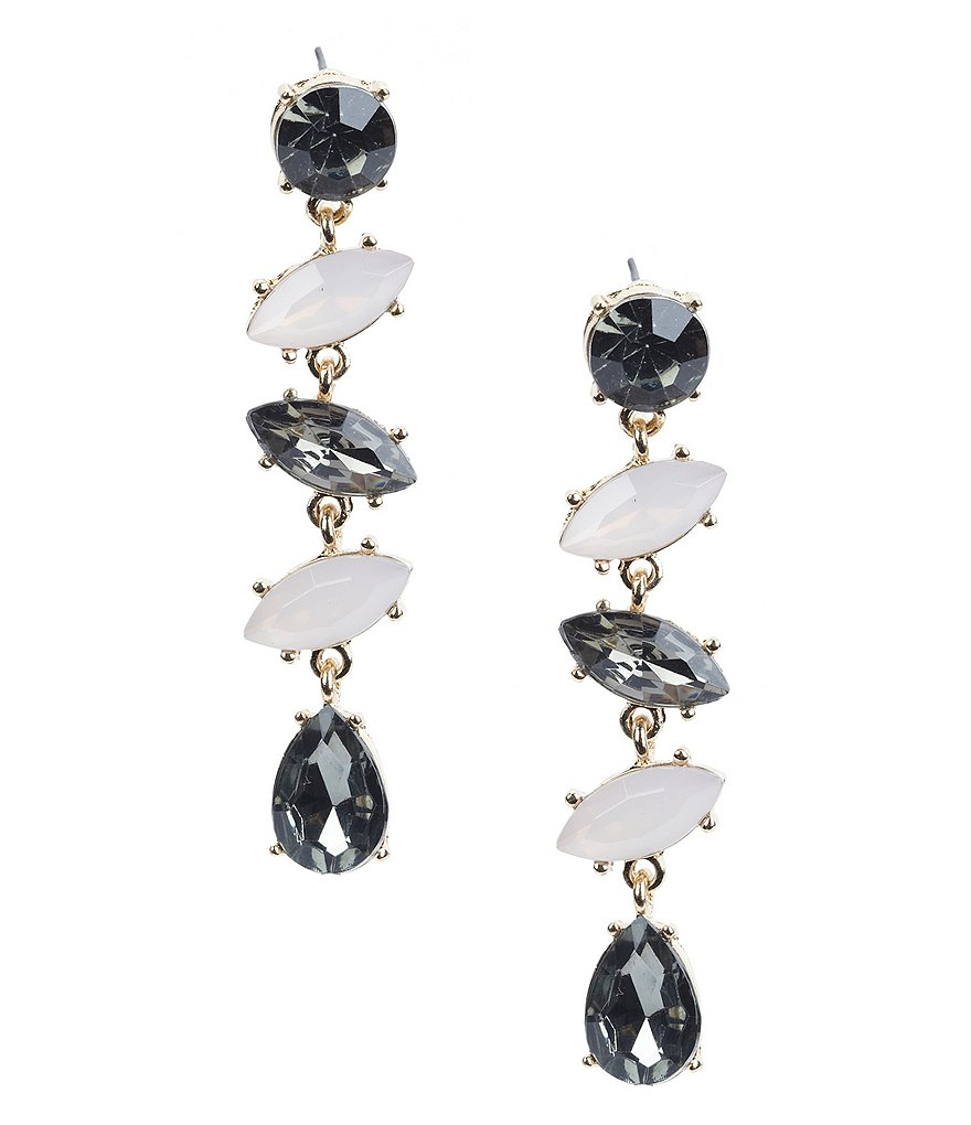 Natasha Accessories Stepping Stone Statement Linear Drop Earrings