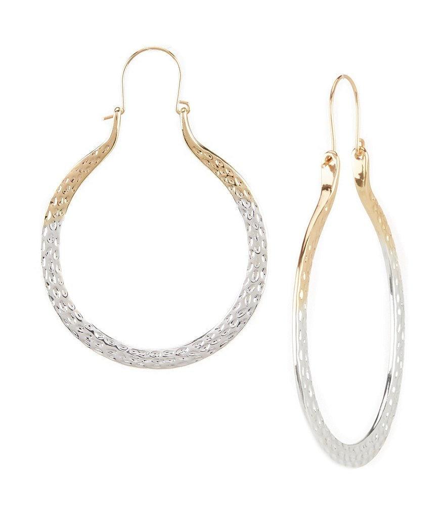 Natasha Accessories Hammered Hoop Earrings
