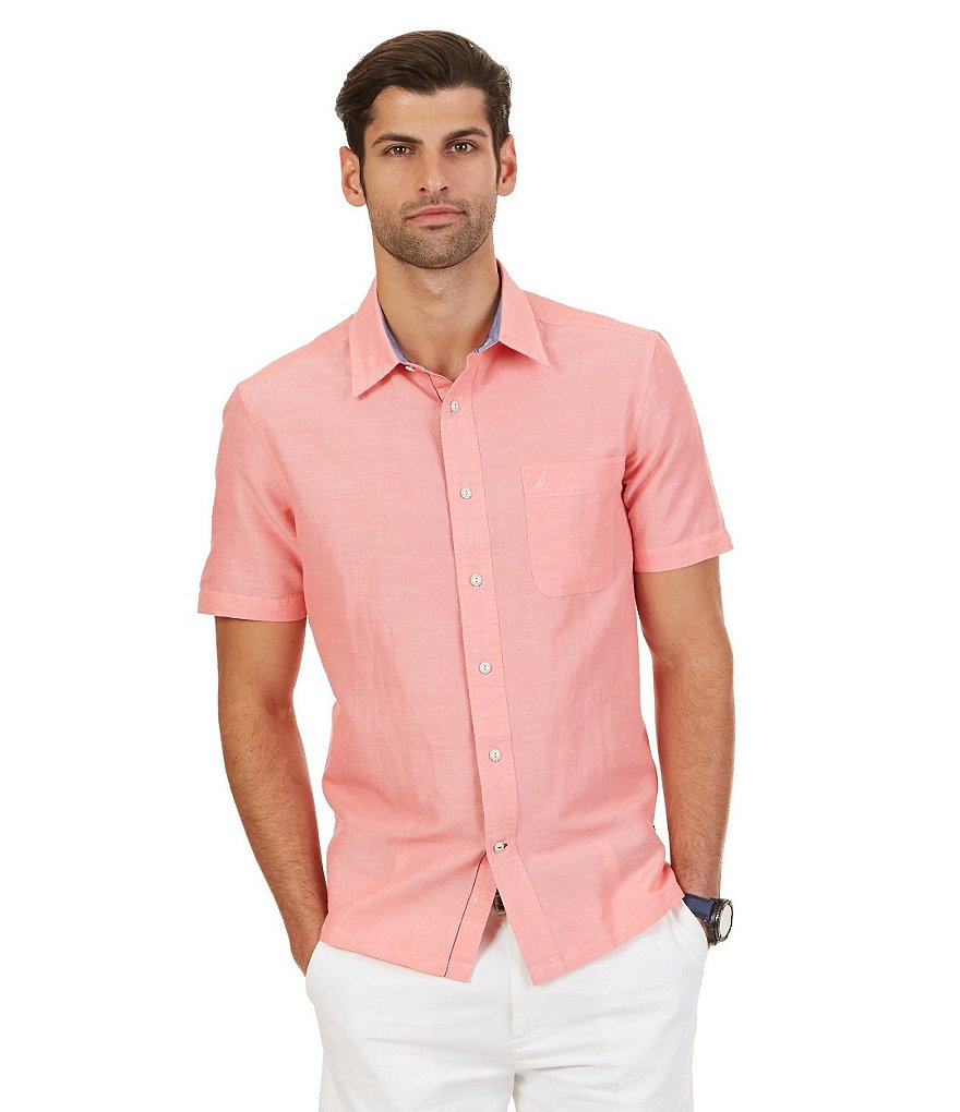 Nautica Slim-Fit Short-Sleeve Solid Ramie-Blend Shirt