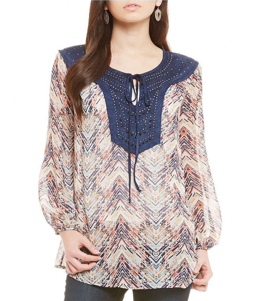 Nicola Embellished Yoke Tie-Neck Peasant Blouse