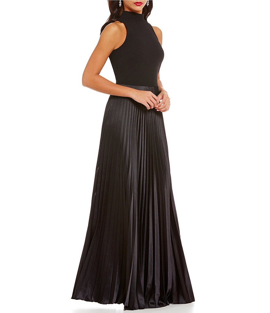 Nicole Miller Collection Mock Neck Sleeveless Pleated Gown