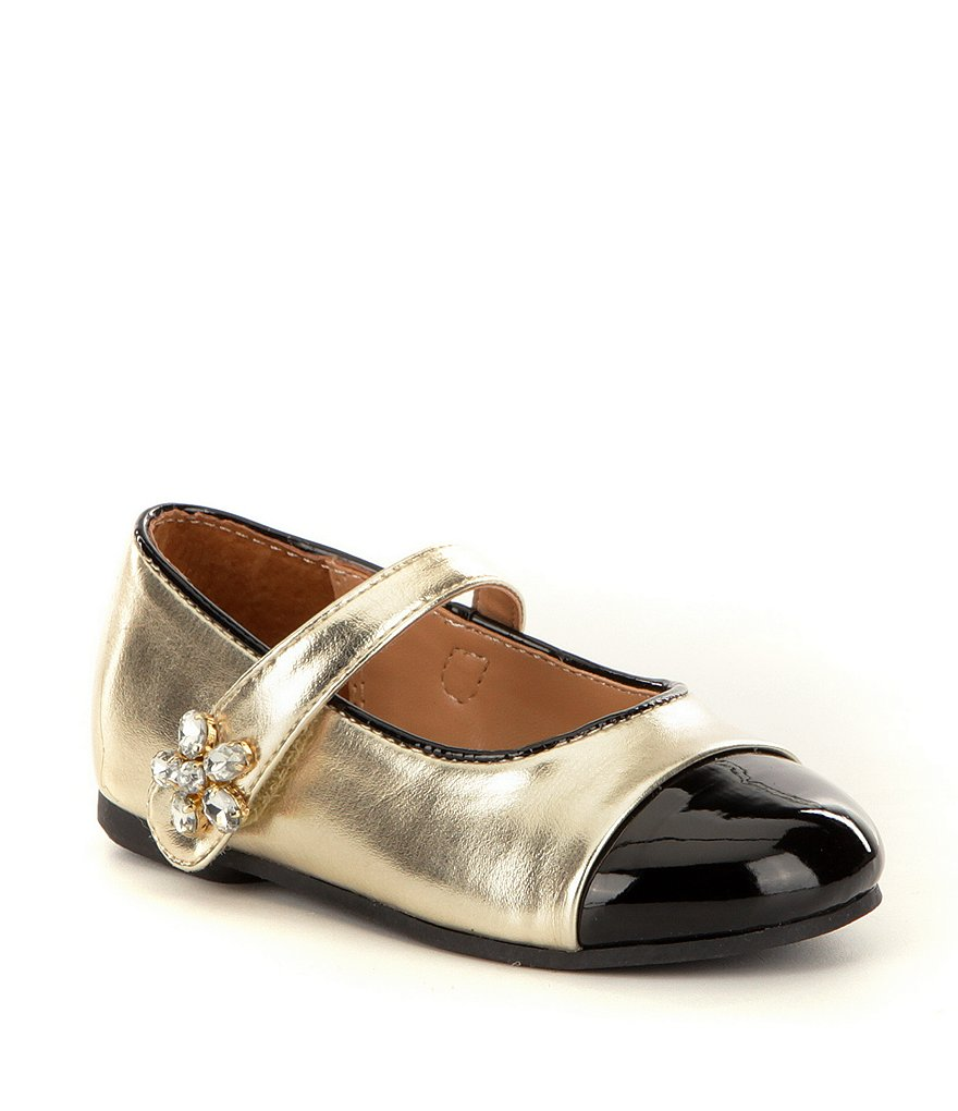 Nina Girls' Krystyn Metallic Leather Floral Embellished Mary Jane