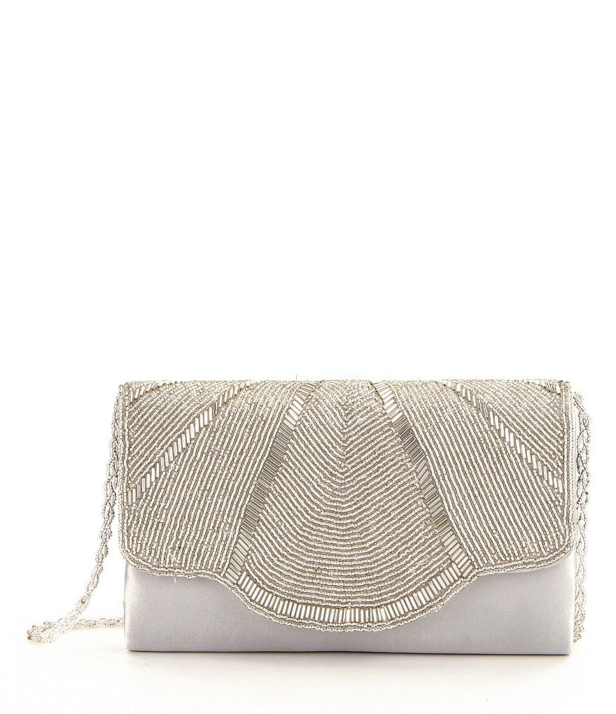 Nina Mazell Scallop-Beaded Flap Clutch