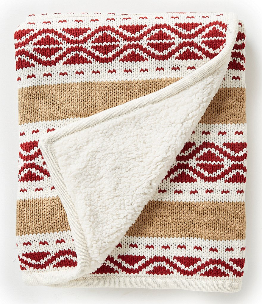Noble Excellence Avery Nordic Chunky Knit & Faux-Sherpa Throw