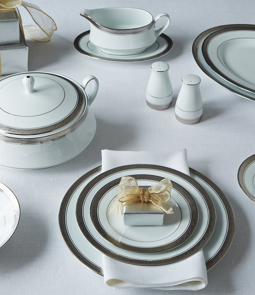 Noritake Crestwood Etched Platinum Porcelain China