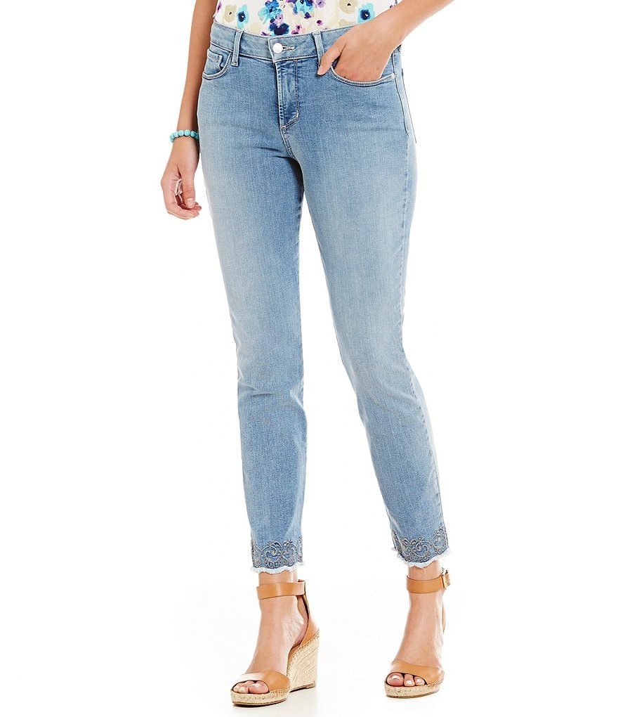 NYDJ Clarissa Ankle Embroidered Released Hem Jeans