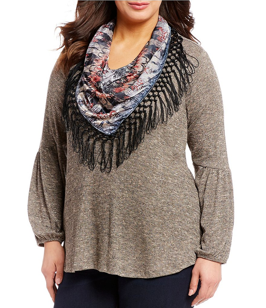 One World Apparel Plus Size Long Poet Sleeve Printed Jacquard Scarf Top