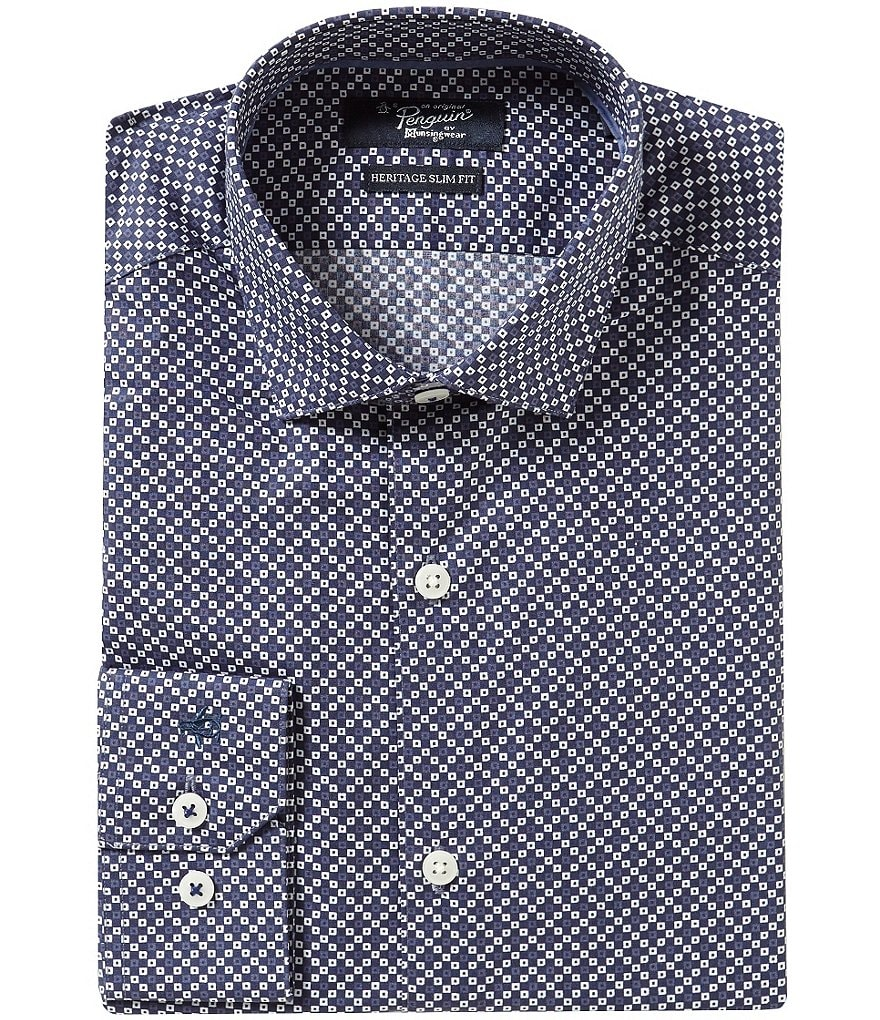 Original Penguin Heritage Slim-Fit Spread-Collar Repeating Novelty Print Dress Shirt