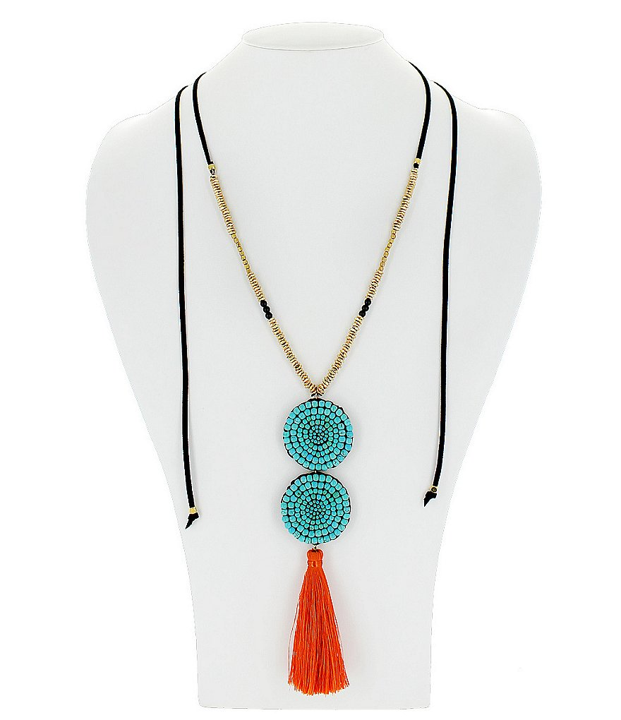 Panacea Adjustable Turquoise Beaded and Orange Tassel Pendant Necklace