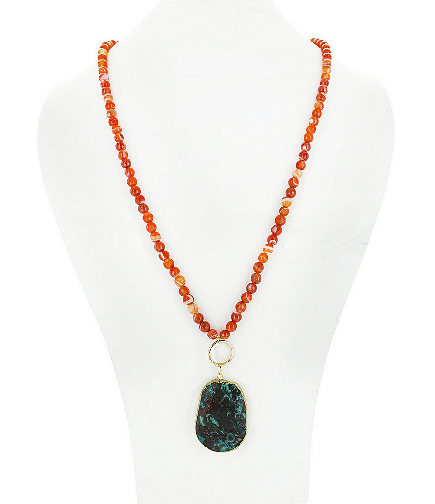 Panacea Carnelian & Jasper Long Pendant Necklace
