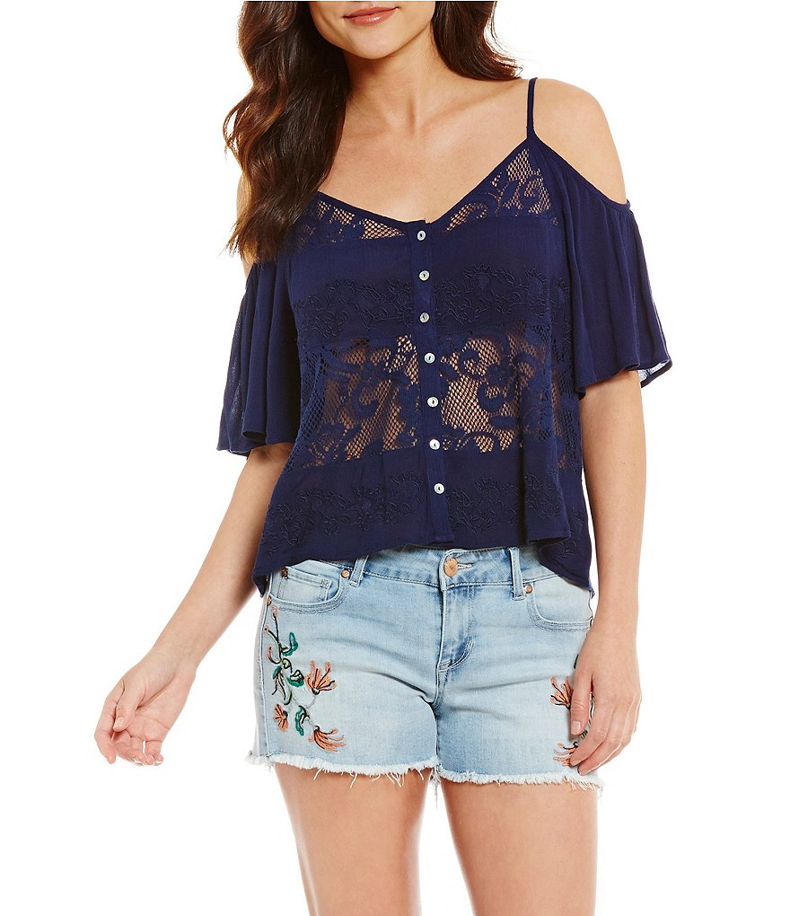 Patrons Of Peace Cold Shoulder Embroidered Mesh Top