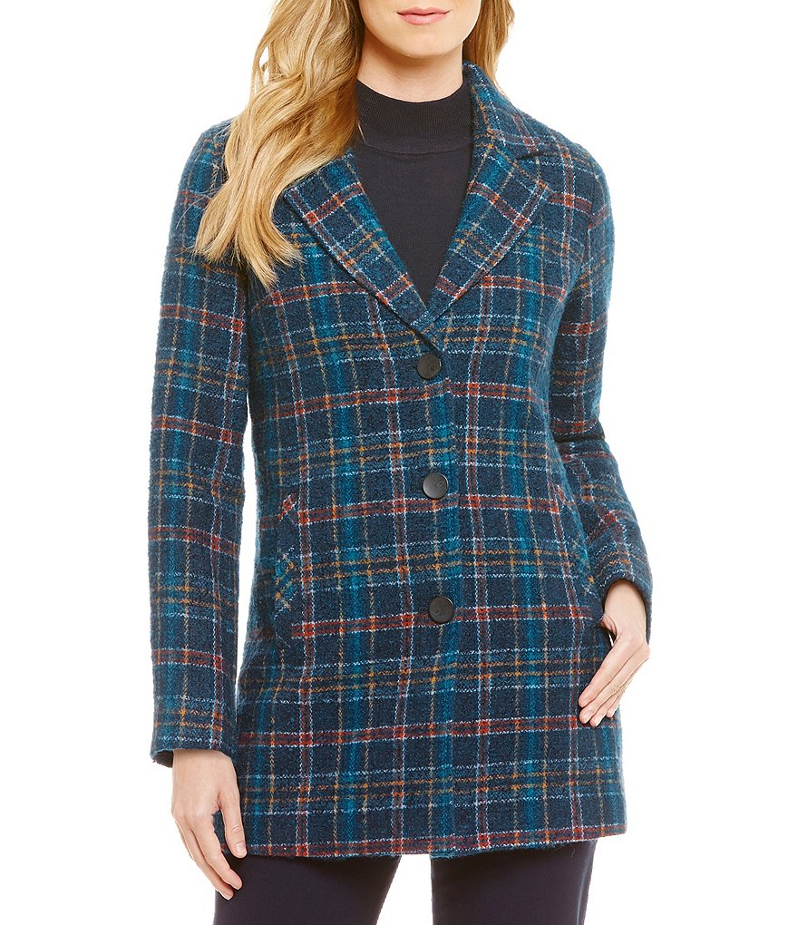 Pendleton Day Long Plaid Boucle Button Front Jacket