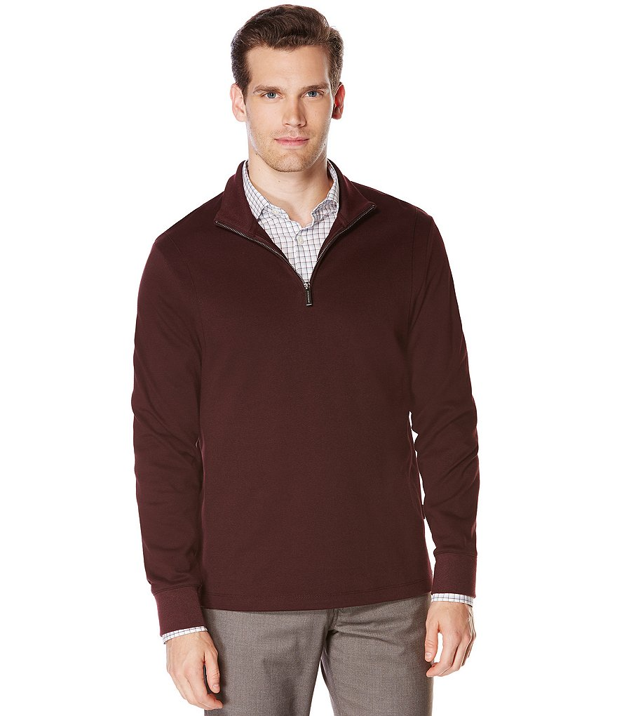 Perry Ellis Quarter-Zip Long-Sleeve Pullover