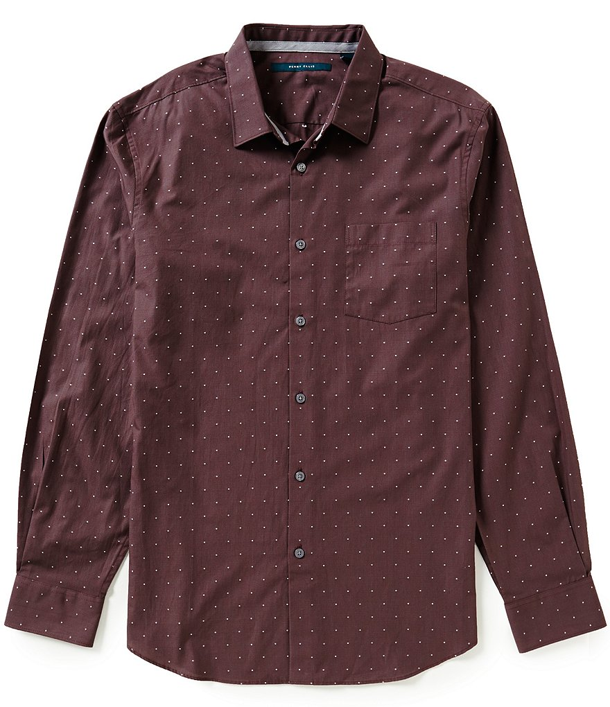 Perry Ellis Dot Pattern Dobby Long-Sleeve Woven Shirt