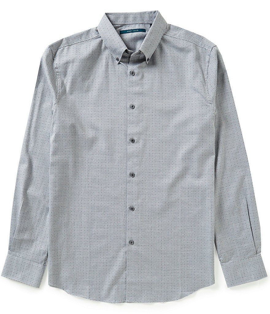 Perry Ellis Dot Print Heathered Twill Long-Sleeve Woven Shirt