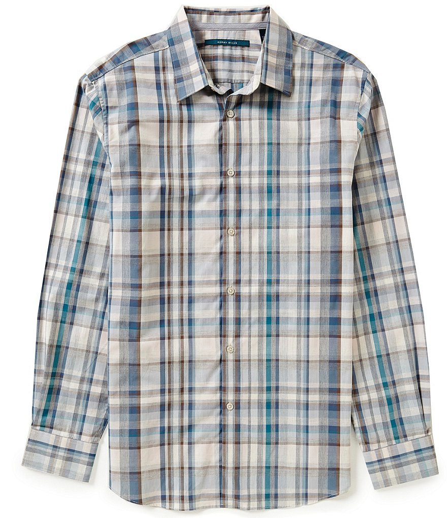 Perry Ellis Heather Plaid Long-Sleeve Woven Shirt