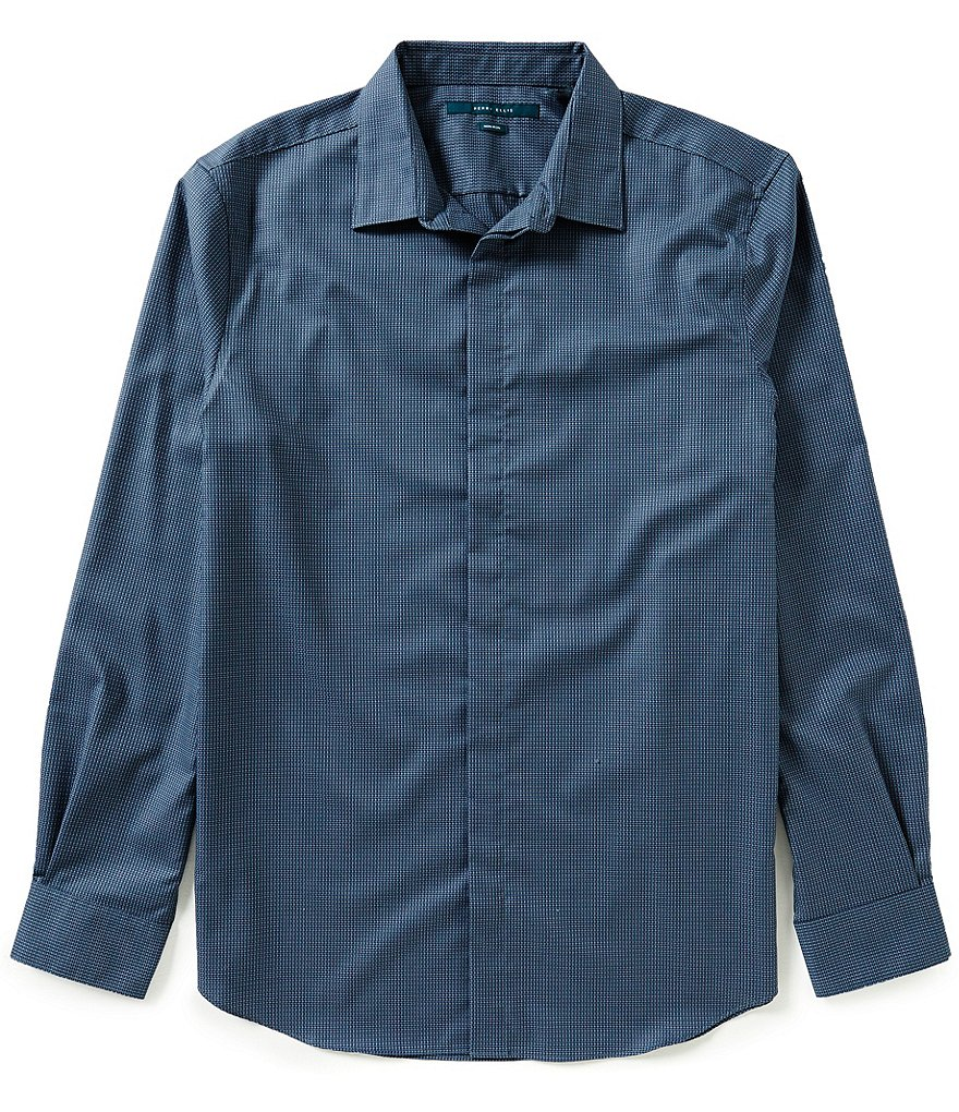 Perry Ellis Non-Iron Travel Luxe Performance Micro Geo Dobby Long-Sleeve Woven Shirt