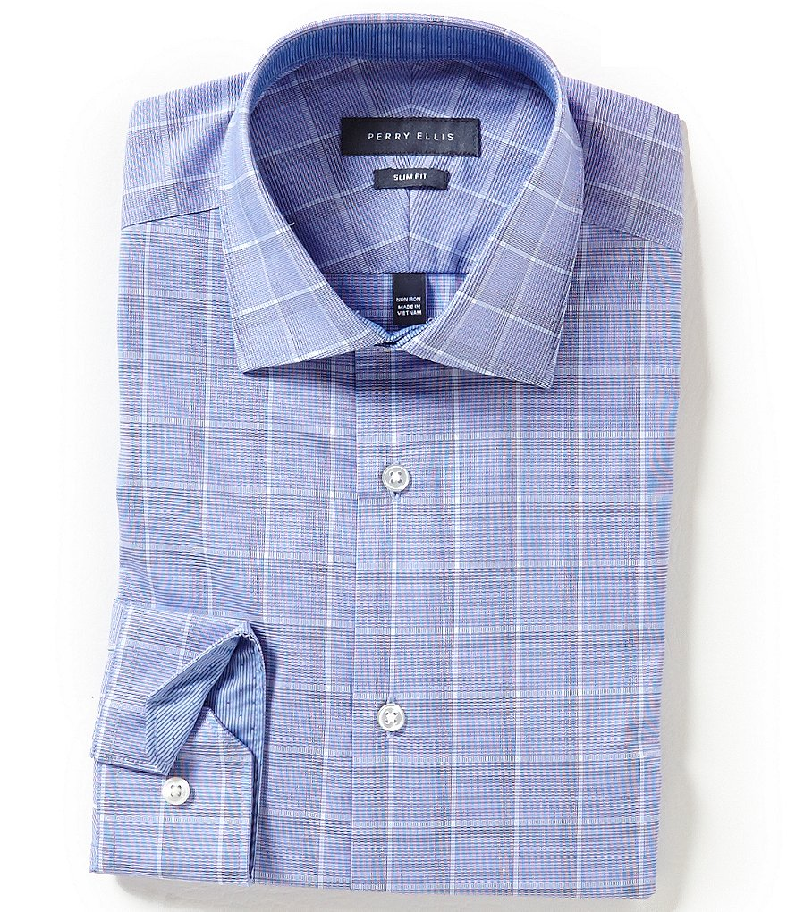Perry Ellis Non-Iron Slim-Fit Spread-Collar Ombre-Checked Dress Shirt