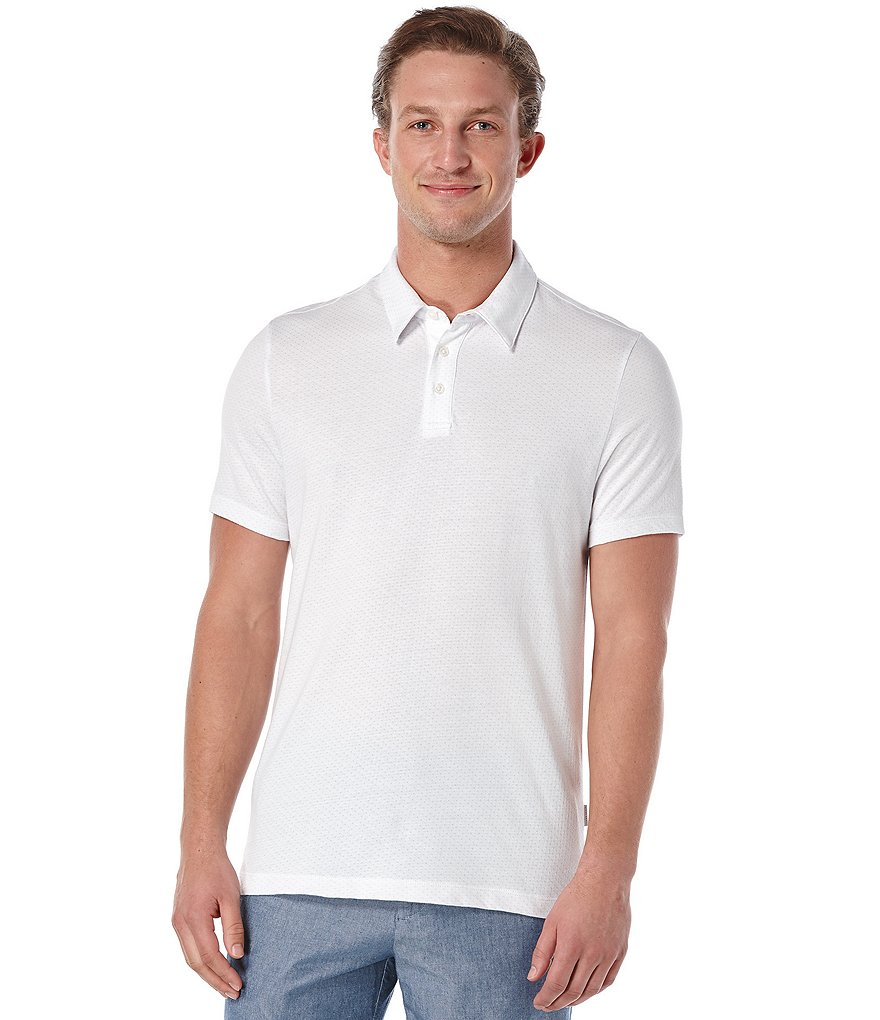 Perry Ellis Short-Sleeve Jacquard Dot Polo Shirt