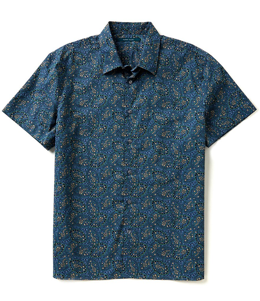 Perry Ellis Short-Sleeve Repeating Paisley Print Woven Shirt