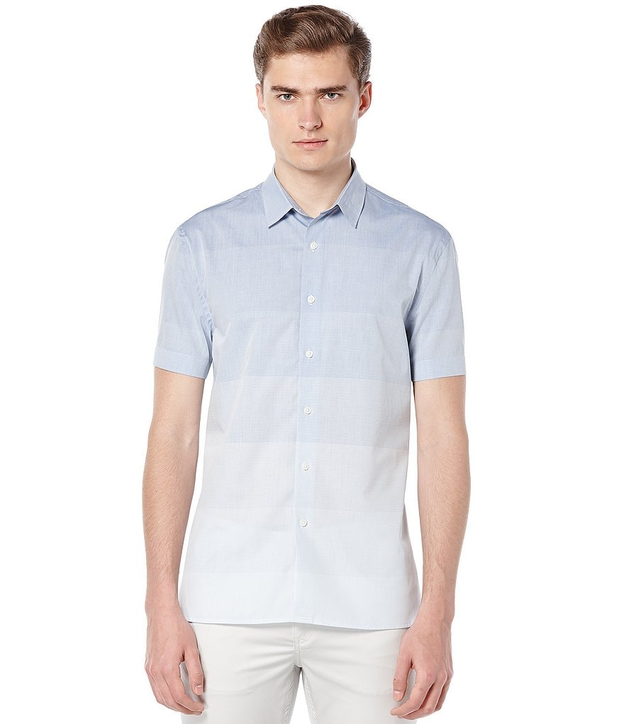 Perry Ellis Short-Sleeve Striped Woven Shirt