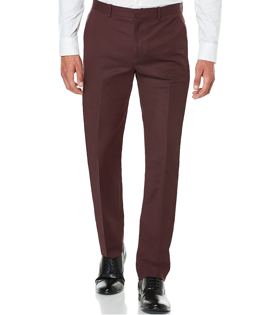 Perry Ellis Slim-Fit Stretch Flat-Front Solid Pants