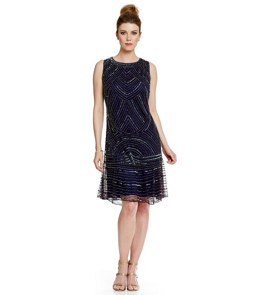 Pisarro Nights Beaded A-Line Cocktail Dress